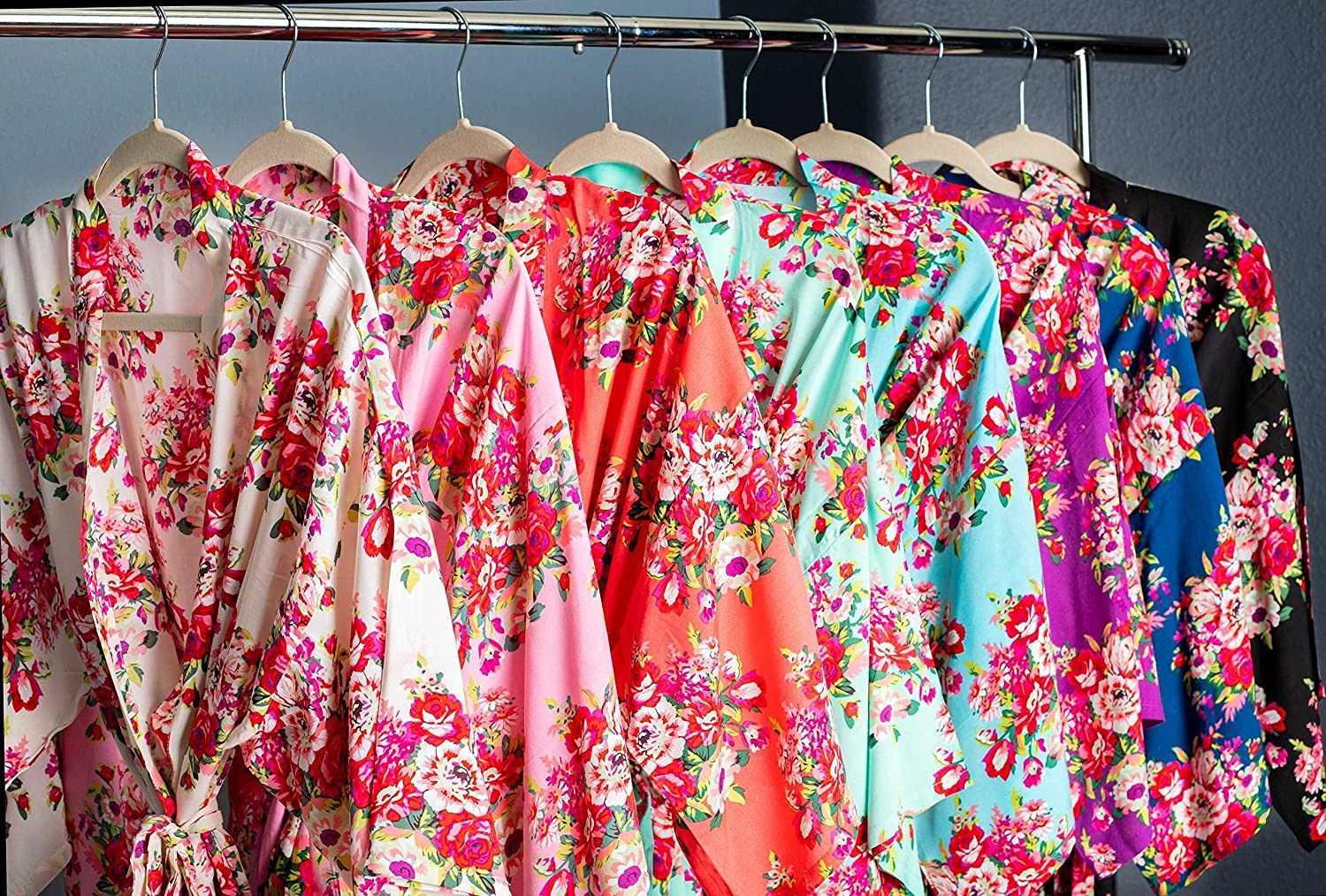 Floral Bridesmaid Kimono Robes Available in Eight Colors, Getting Ready Robes, Bridal Party Robes