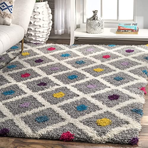 nuLOOM Sharee Trellis Shag Rug, 9 2 x 12 , Multi