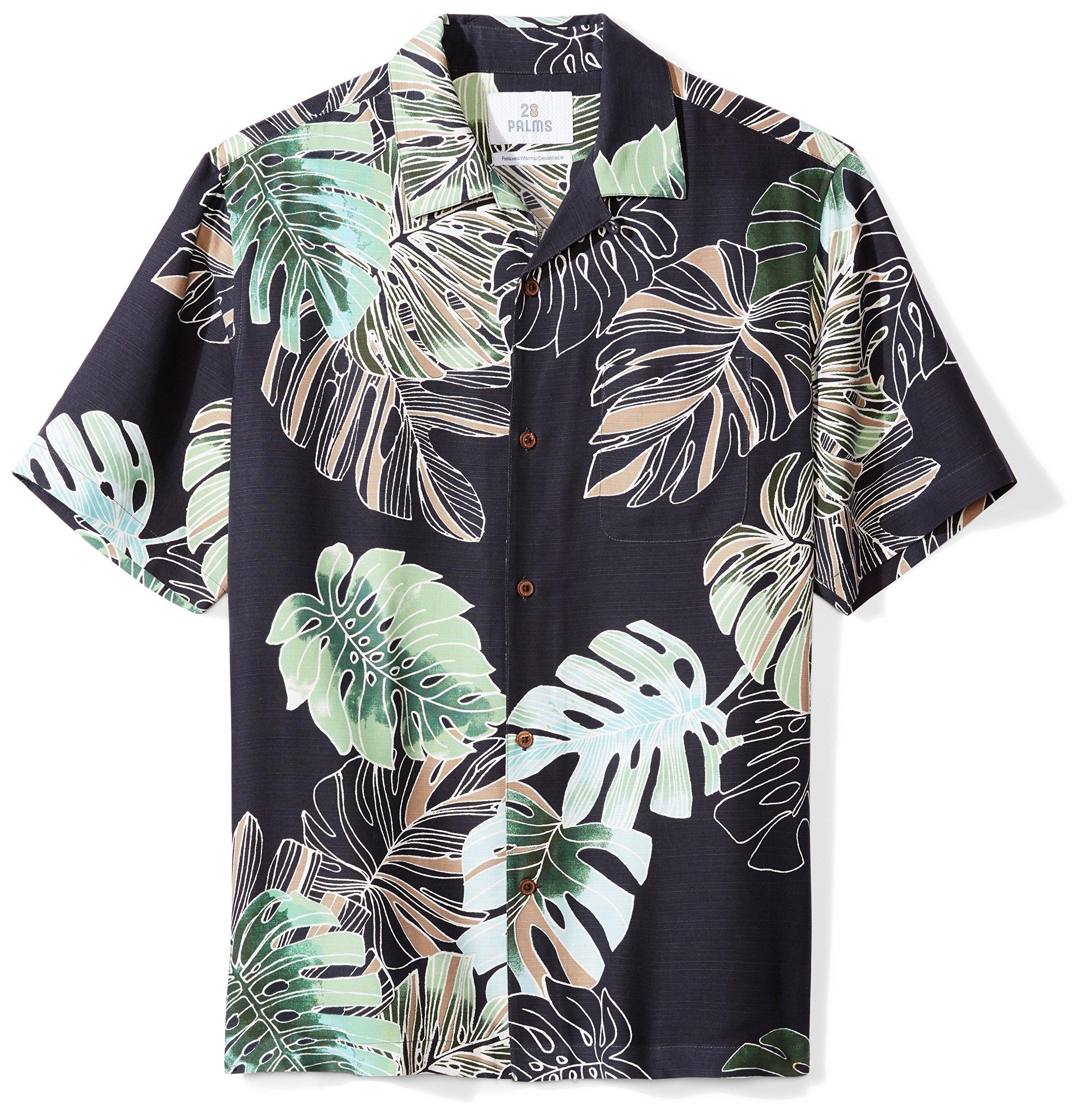 80a0cc29 Galleon - 28 Palms Men's Relaxed-Fit 100% Silk Tropical Hawaiian Shirt, Navy  Banana Leaf, X-Large