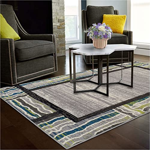 Superior Gem Border Collection Area Rug, 6mm Pile Height with Jute Backing, Affordable Contemporary Rugs, Contemporary Geometric Gemstone Design – 5 x 8 Rug, Black, Grey, Green, and Blue