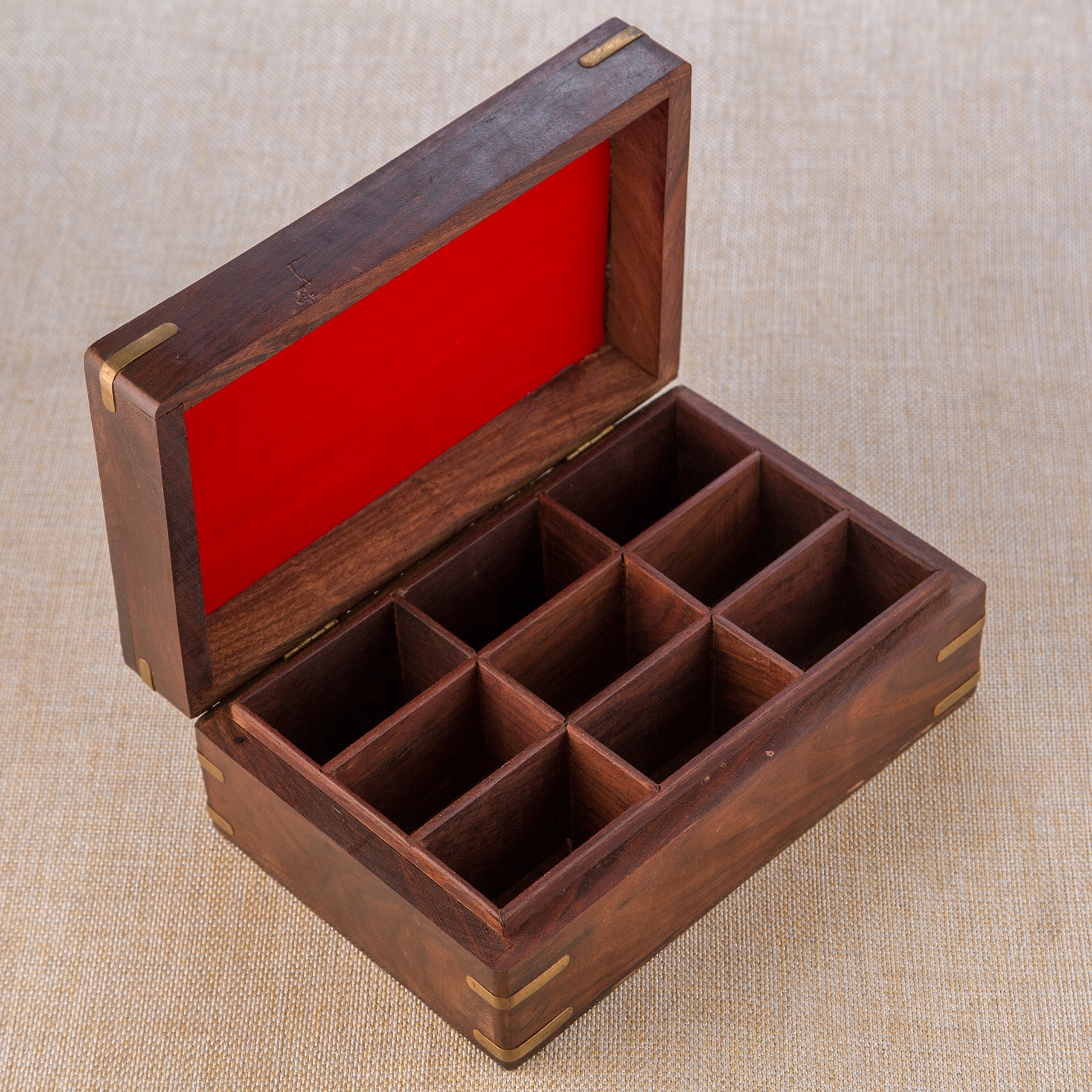 Rusticity Indian Rosewood Antique Treasure Storage Chest Box for Condiment Spice&Jewellery/Vintage Rustic Keepsake Trinket Organizer w/9 Compartments/Handmade Decorative Sheesham Wood Caddy Tea Bag by Rusticity (Image #6)