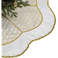Valery Madelyn 48 inch Elegant White Gold Peacock Christmas Tree Skirt with Sequins Trim, Themed with Christmas…