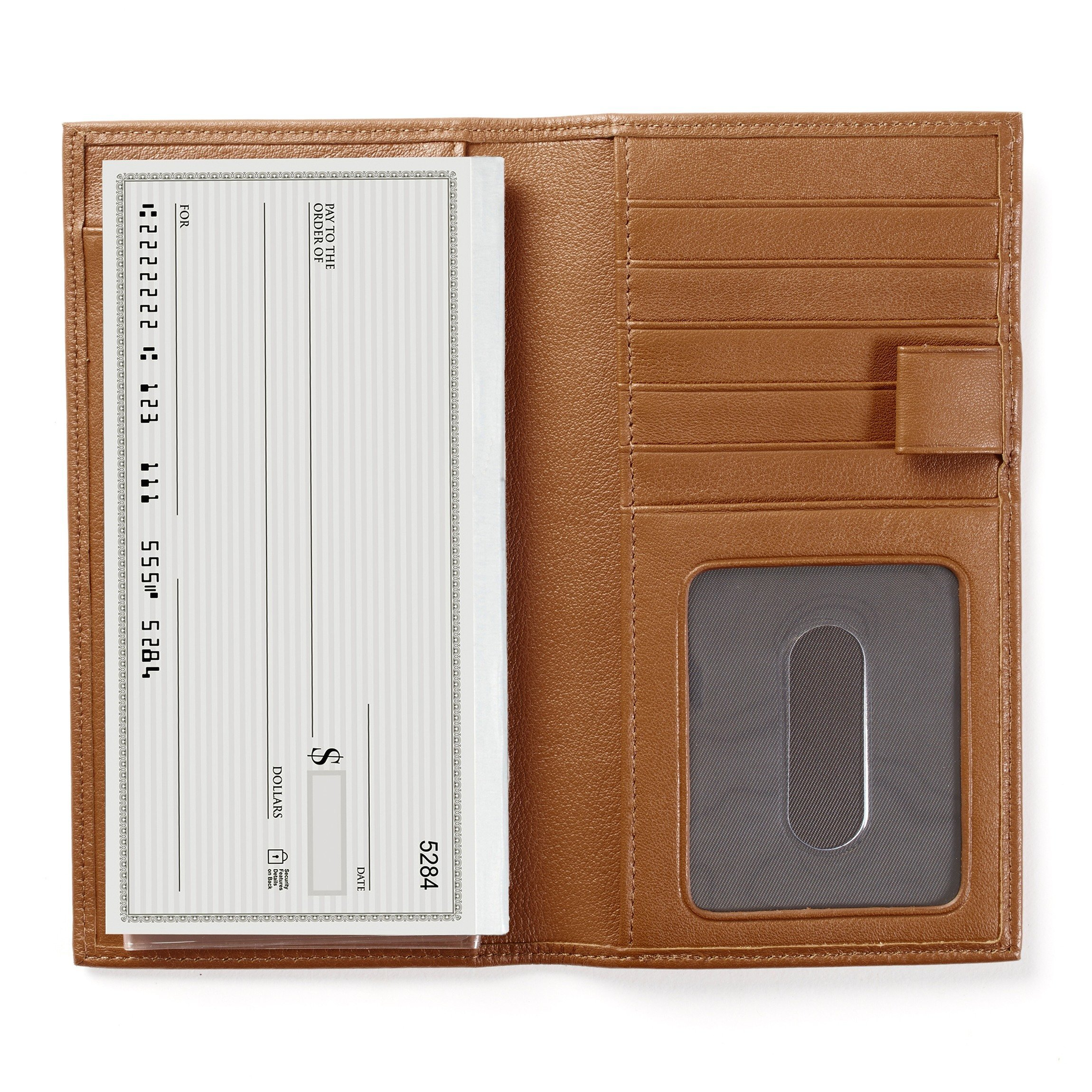 Leatherology Checkbook & Card Holder with Divider and Pen Loop - Full Grain Leather - Cognac (brown)