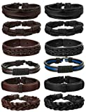Amazon Price History for:Jstyle 12Pcs Braided Leather Bracelet for Men Women Cuff Wrap Bracelet Adjustable Black and Brown
