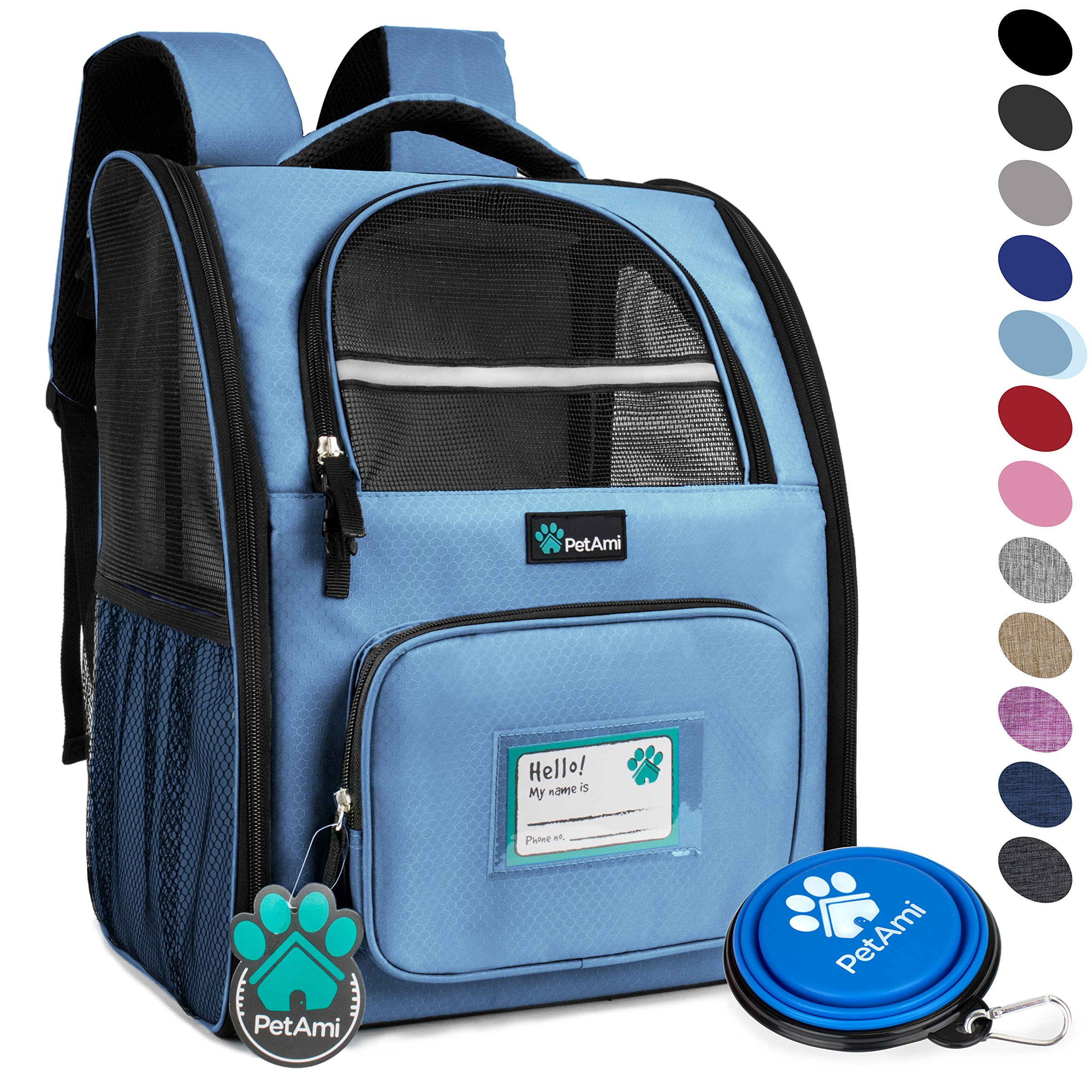 PetAmi Deluxe Pet Carrier Backpack for Small Cats and Dogs, Puppies | Ventilated Design, Two-Sided Entry, Safety Features and Cushion Back Support | for Travel, Hiking, Outdoor Use (Light Blue) by PetAmi