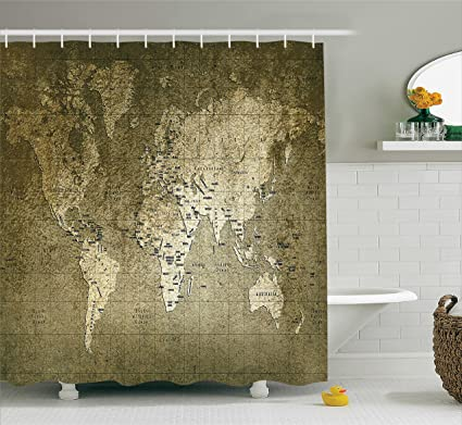 Ambesonne Antique Decor Shower Curtain Set Old World Map With Great Texture Nostalgic Ancient Plan