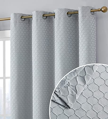 HLC.ME Siena Decorative 100 Blackout Thermal Insulated Double Layer Window Curtain Grommet Panel