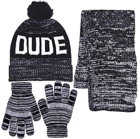 9a7856401a66c Boys Personality 3 Piece Knit Cuffed Pom Beanie Scarf   Gloves Set 3 Colors  (Dude