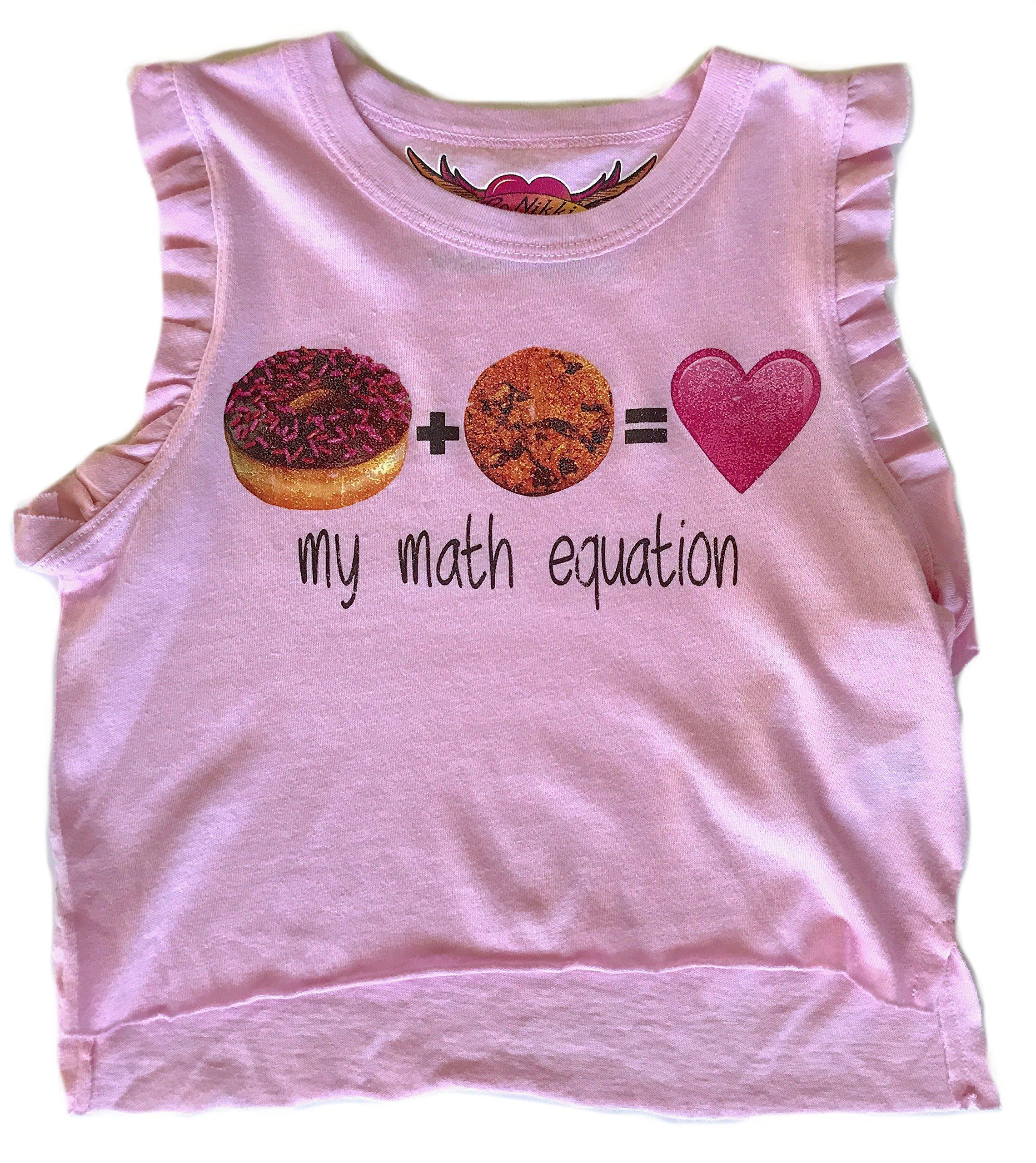SO NIKKI Little Girls' Donut Love Ruffle Sleeve Hi-Low Tank, Pink (Large 6/6x)