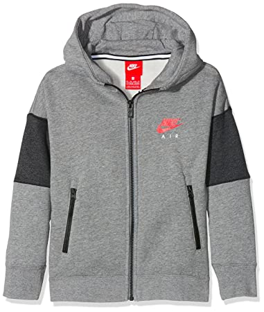 Nike Kinder Air Hoodie, Grau (carbon heather anthracite  siren red), 57f747052f