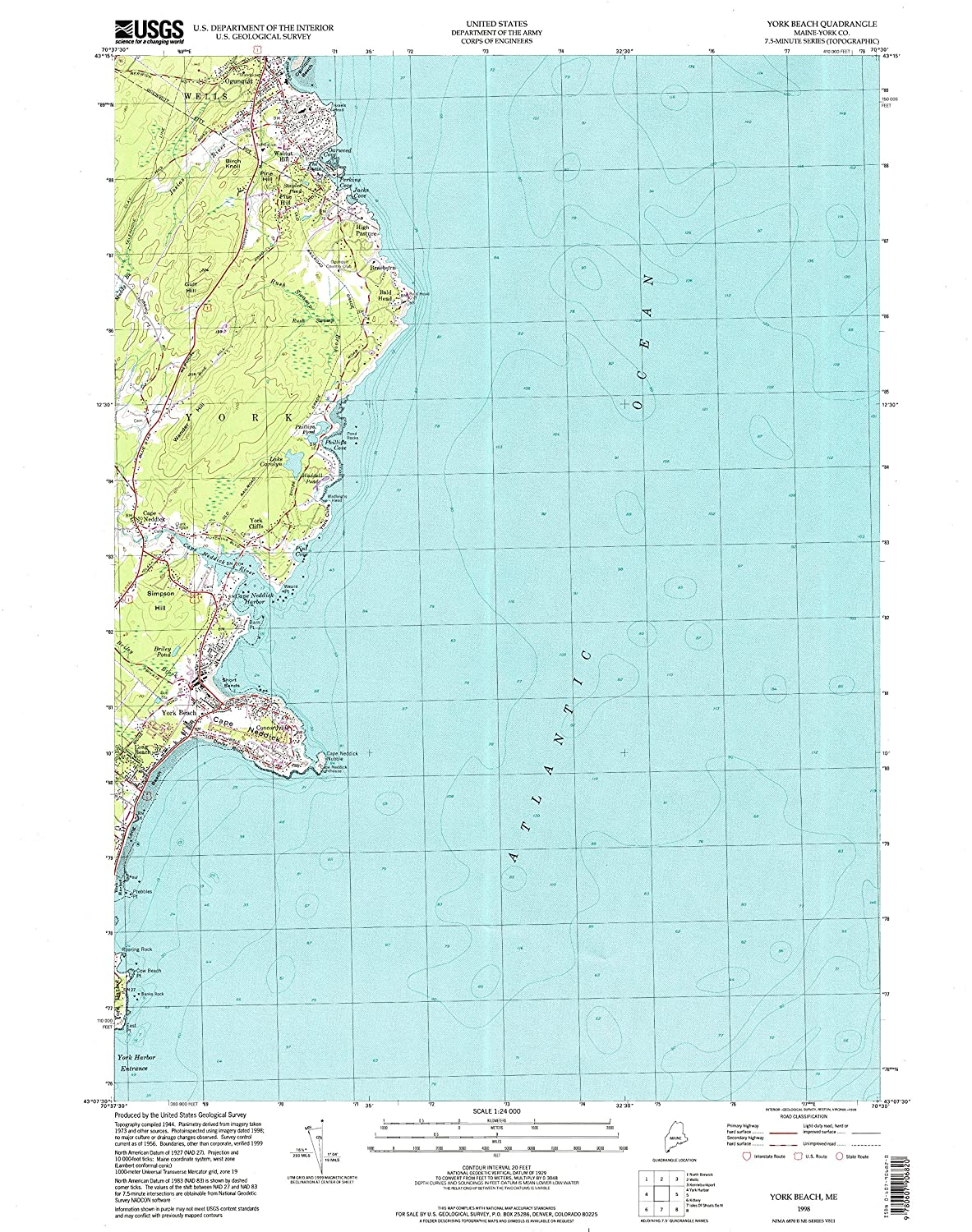 Amazon Com Yellowmaps York Beach Me Topo Map 1 24000 Scale 7 5 X