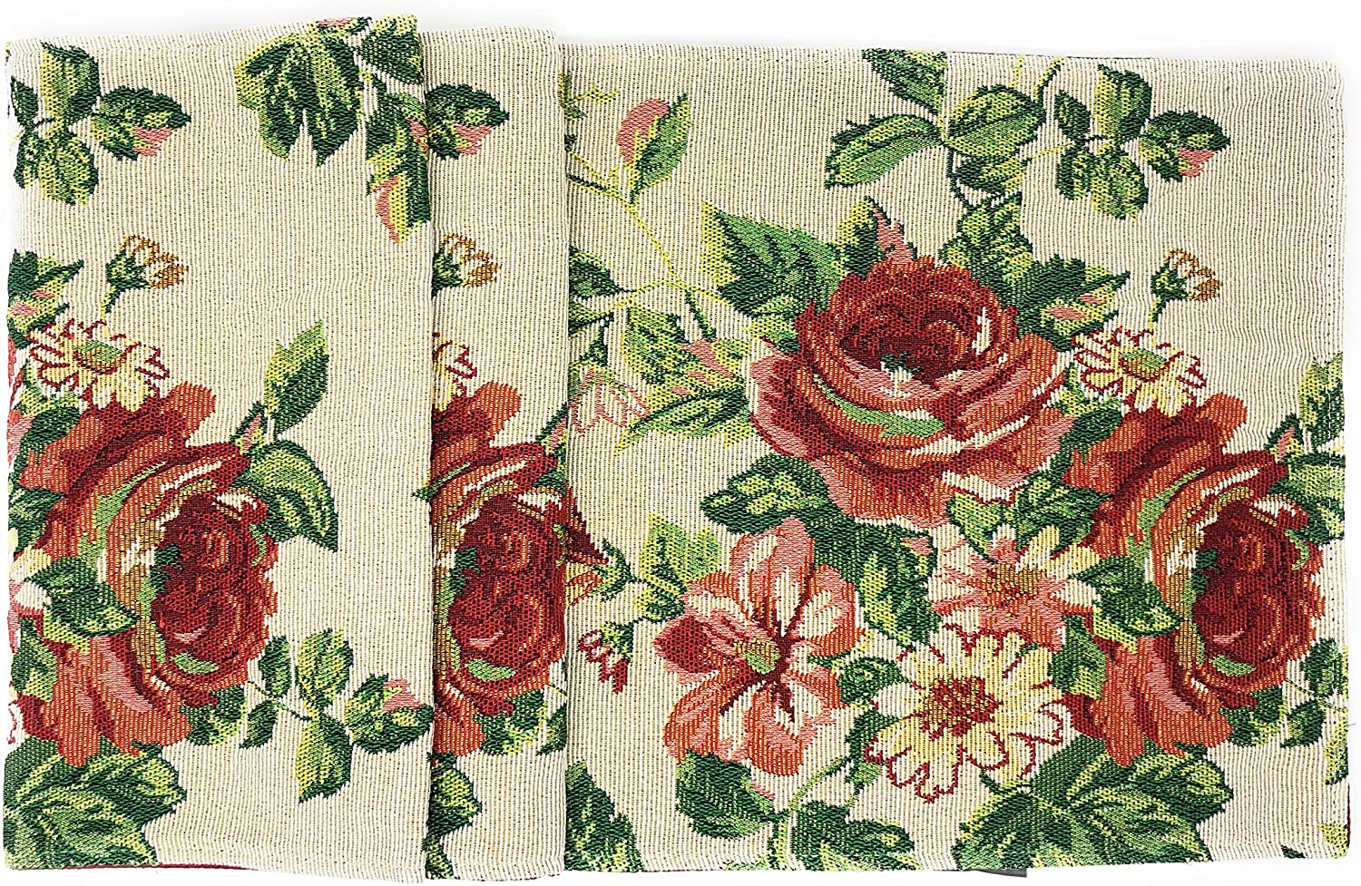 Tache Sweet Roses Spring Summer Traditional Country Vintage White Red Floral Decorative Woven Tapestry Kitchen Coffee Table Runners Scarfs, 13x72