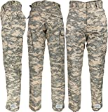 Mens ACU Digital Camouflage Poly/Cotton Military BDU Army Fatigues Cargo Pants with Official Army Universe Pin