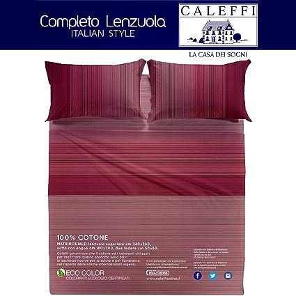 prezzo ufficiale vendita usa online super qualità Caleffi Marsala Completo Letto Matrimoniale Set Lenzuola Sopra Sotto Federe  100% cotone tinto in pezza made in italy