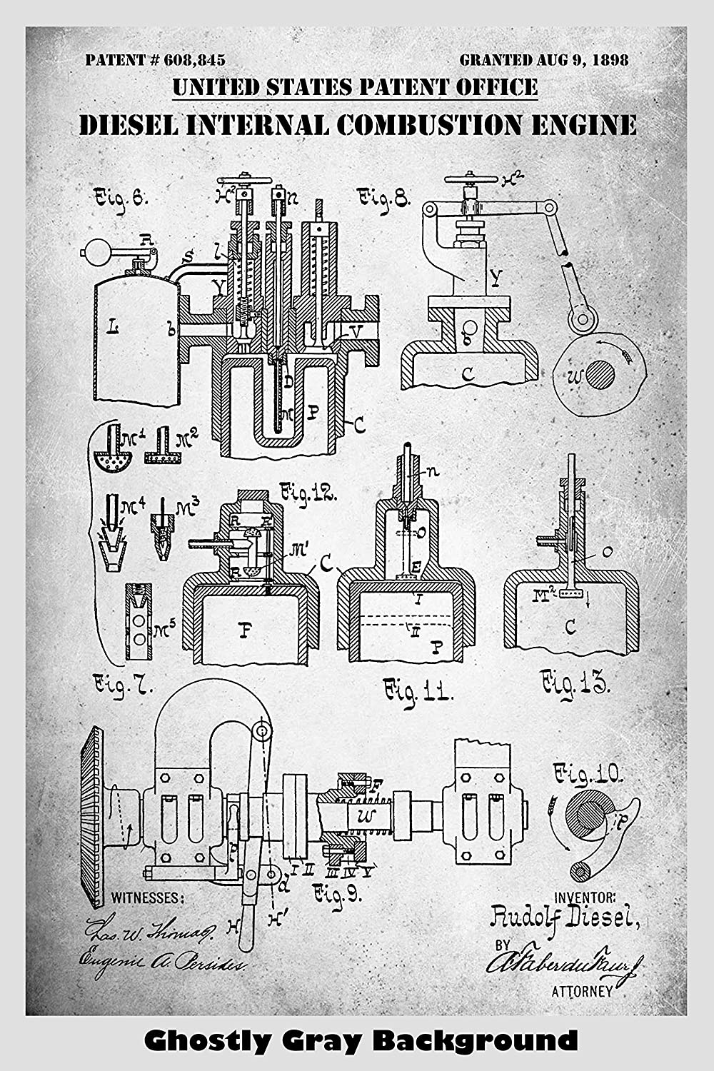 Diesel Internal Combusion Engine Patent Print Art Poster Combustion Diagram For Idiots Choose From Multiple Size And Background Color Options Handmade