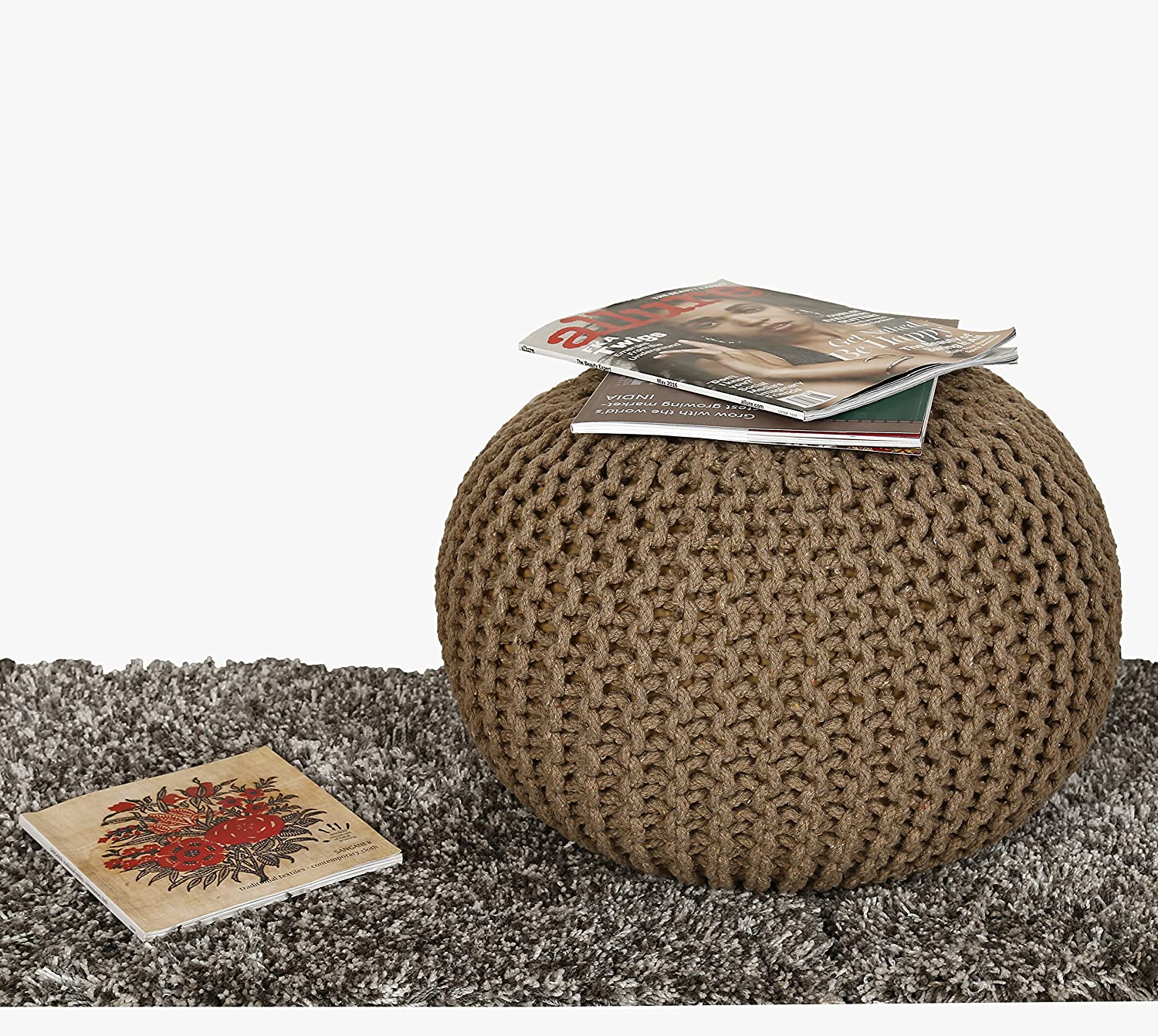RAJRANG BRINGING RAJASTHAN TO YOU Hand Knit Pure Cotton Pouf Black Braid Cord Stitched Round Ottoman Foot Stool Home Decorative Seat for Guests 19 x 13 Inch