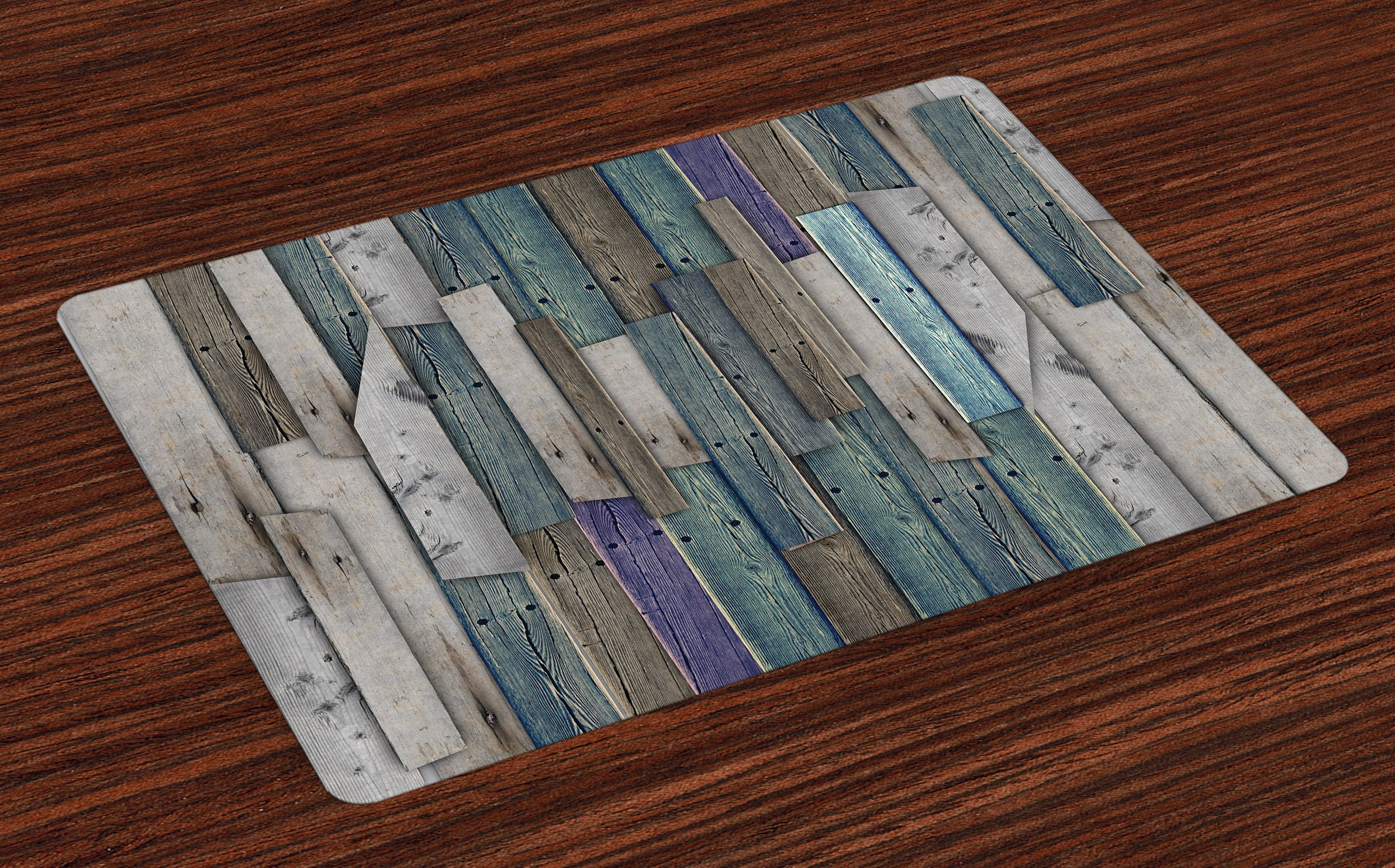 Ambesonne Rustic Place Mats, Image of Blue Grey Grunge Wood Planks Barn House Door Nails Country Life Theme Print, Washable Fabric Placemats for Dining Room Kitchen Table Decor, Gray Blue