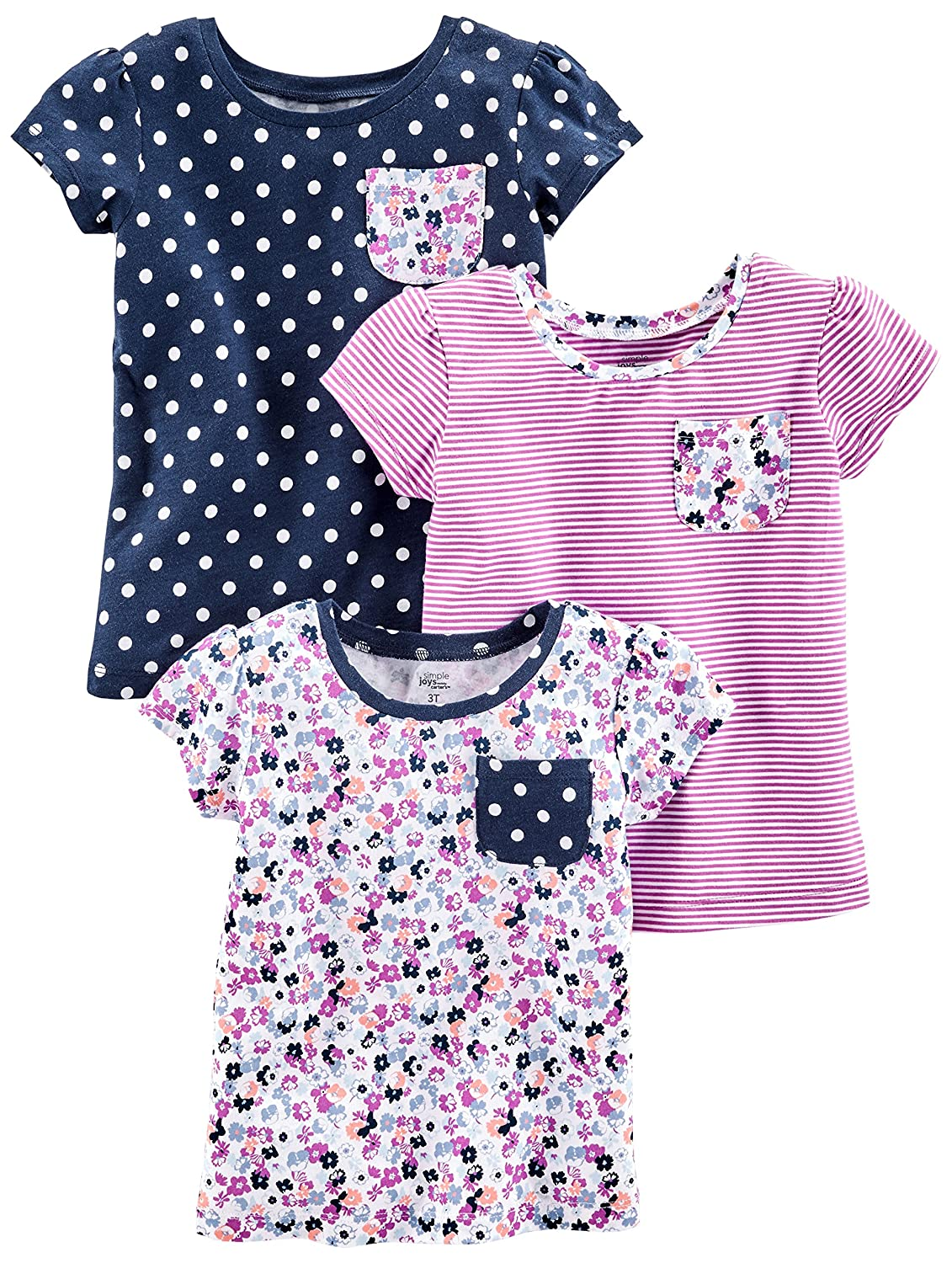Simple Joys by Carter's Baby Girls' Toddler 3-Pack Short-Sleeve Shirts and Tops 3PKTEEFASH