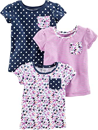 Simple Joys by Carter's Baby Girls' Toddler 3-Pack Short Sleeve Tops