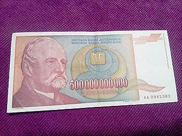 Biggest Europian Banknote 500 Billion Dinars Yugoslavia Inflation Vg Xf