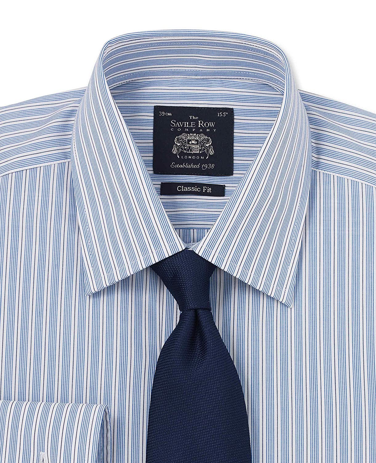 Savile Row Men's Blue Navy Multi Stripe Classic Fit Shirt - Single Cuff