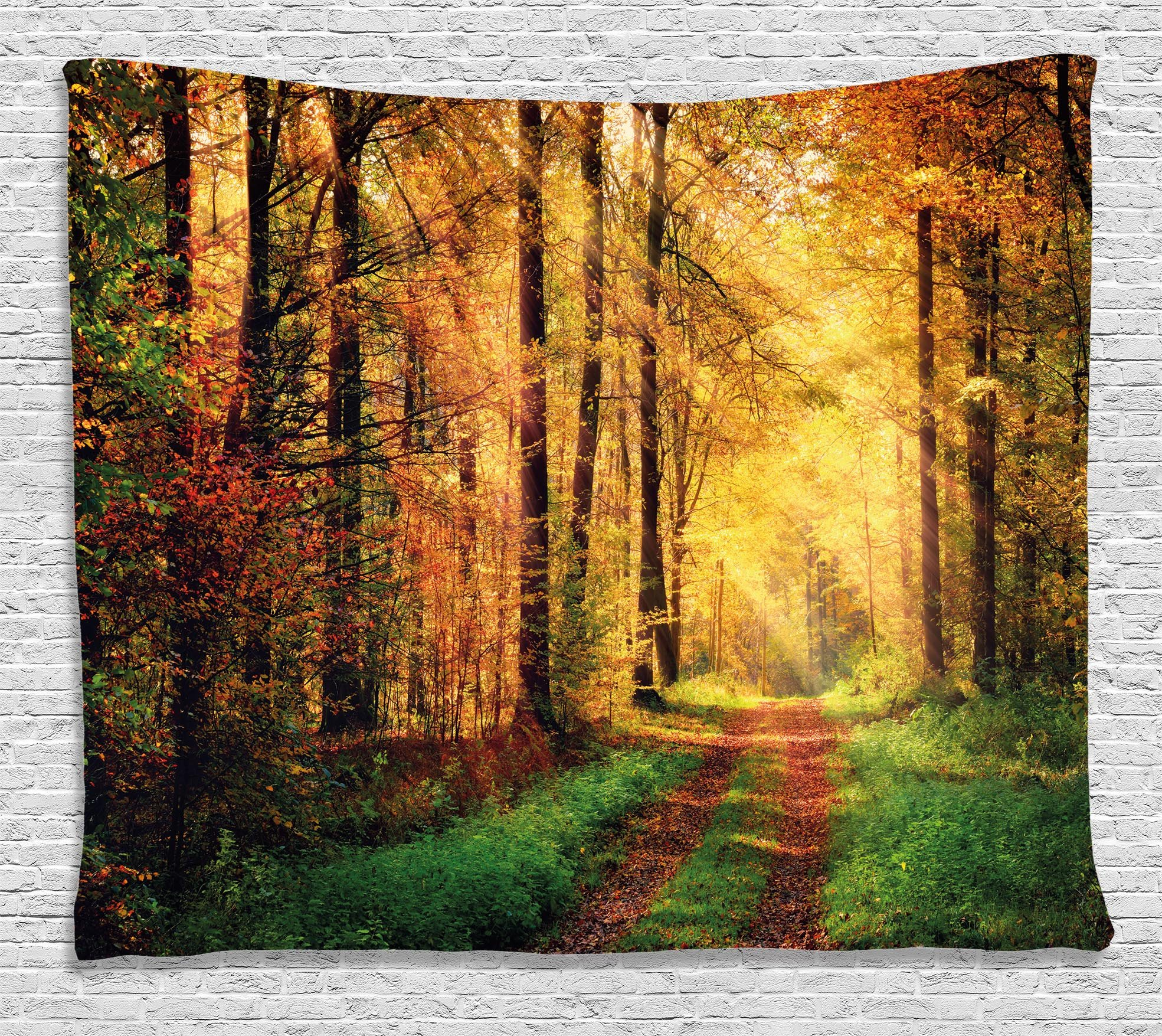 Ambesonne Modern Decor Tapestry by, Autumn Forest Scenery with Rays of Warm Sun Lights on Shady Trees Woods Art, Wall Hanging for Bedroom Living Room Dorm, 80WX60L Inches, Yellow Green