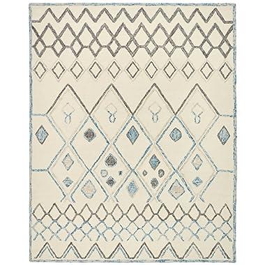 Rivet Geometric Boho Bohemian Wool Area Rug, 5 x 8 Foot, Cream with Blue