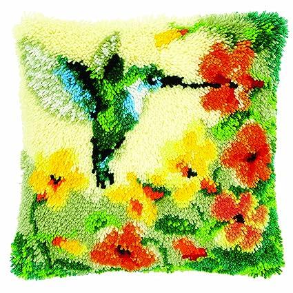 Amazon.com: Cojín de ganchillo Kit: Colibrí y flores: Arte ...