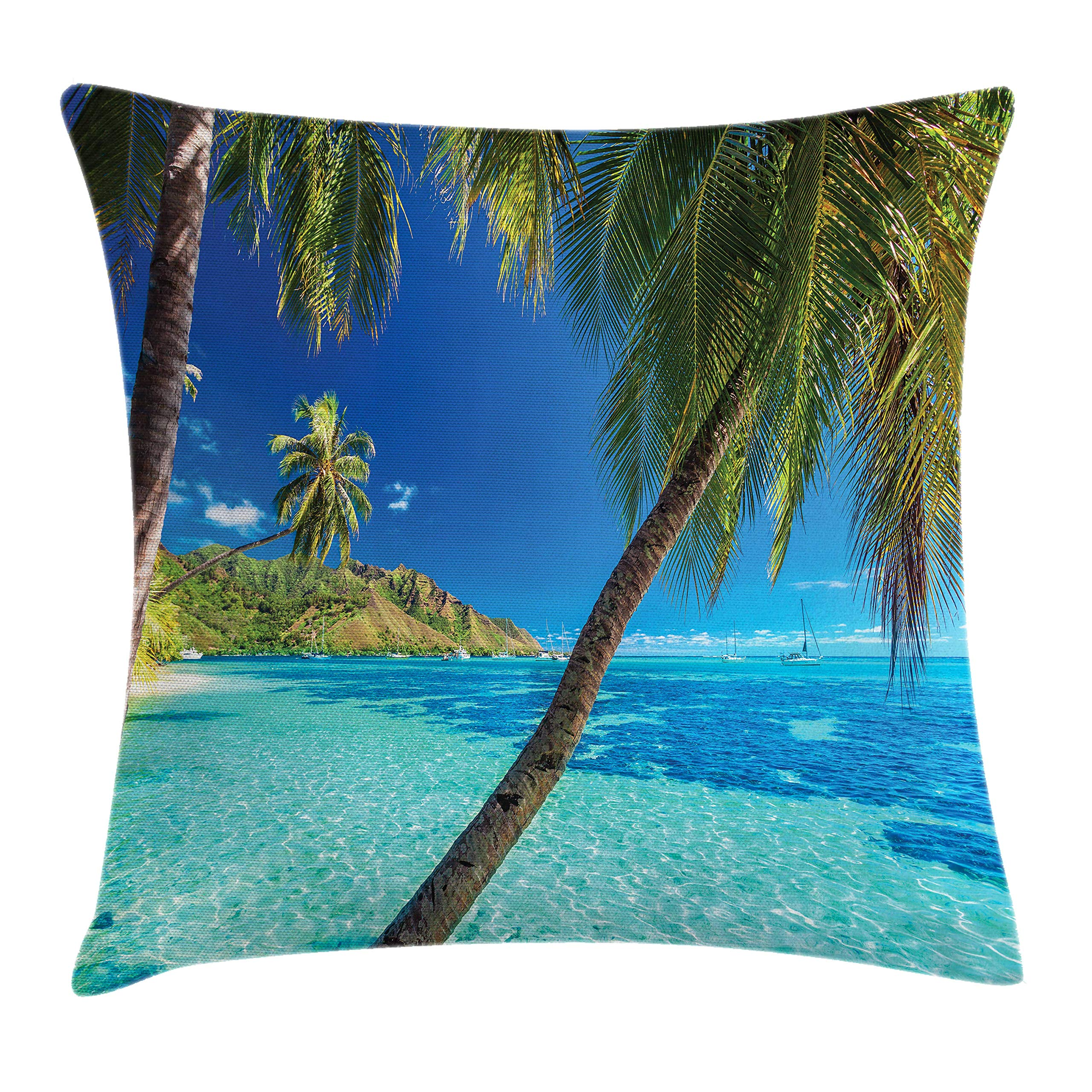 Ambesonne Ocean Throw Pillow Cushion Cover, Image of a Tropical Island with The Palm Trees and Clear Sea Beach Theme Print, Decorative Square Accent Pillow Case, 16 X 16 Inches, Turquoise Blue