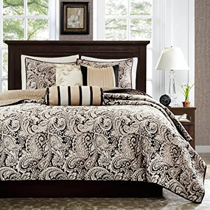 Amazon 6 piece black white paisley coverlet kingcal king set 6 piece black white paisley coverlet kingcal king set damask floral sleek trendy mightylinksfo