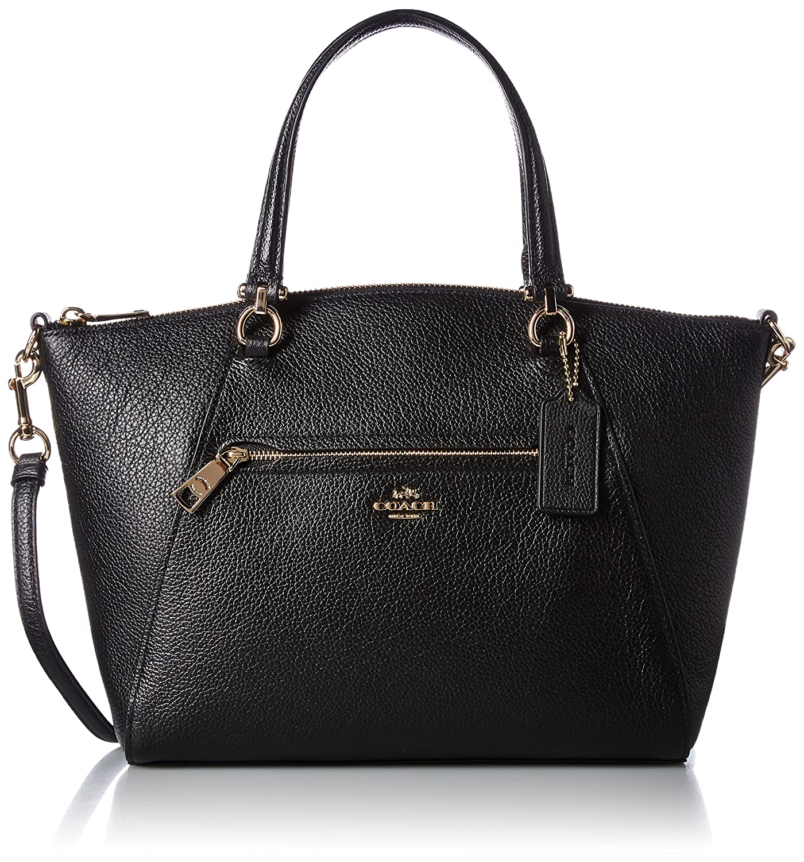 3faee90ef409 Amazon.com  COACH Women s Pebbled Prairie Satchel Li Black One Size  Shoes