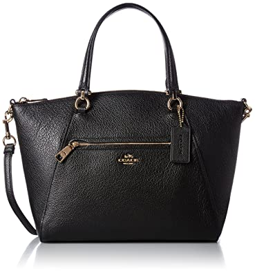 COACH Women's Pebbled Prairie Satchel LI/Black Handbag