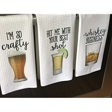 Funny Alcohol Kitchen Towel Gift Beer Lover Whiskey Shot