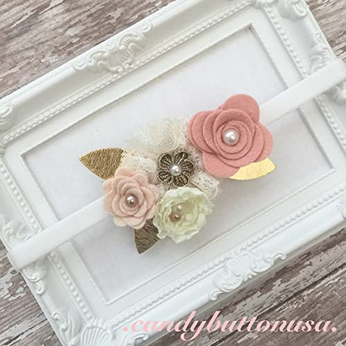 Amazon.com  Blush Gold Baby Girl Headband  Handmade cbf99d2c0fd