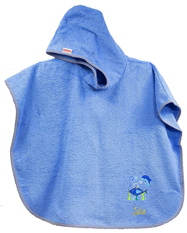 Feiner-Tropfen Babyhandtuch Bestickt mit Namen Kapuze 75x120 gro/ß L/ätzchen Fisch