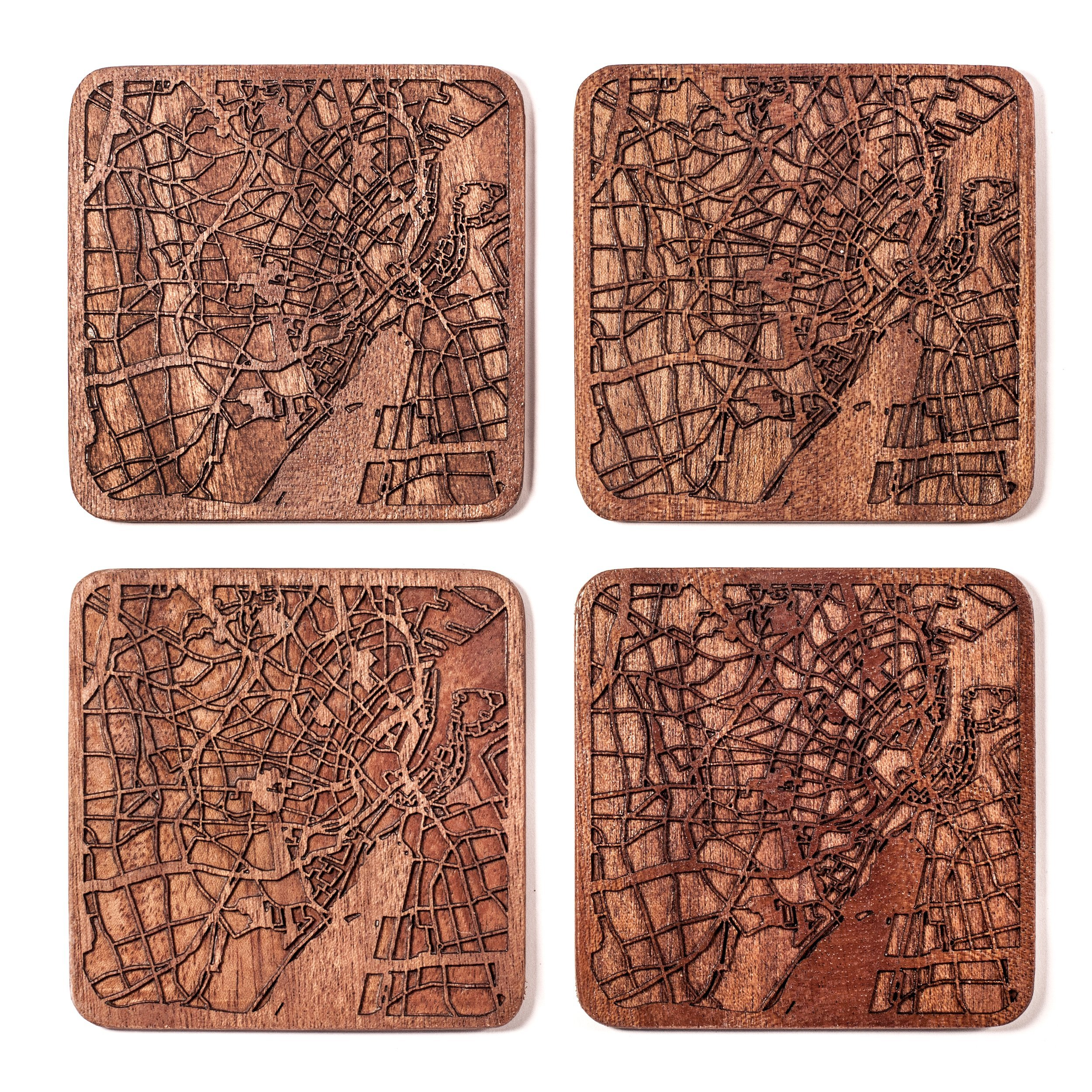 Copenhagen Map Coaster by O3 Design Studio, Set Of