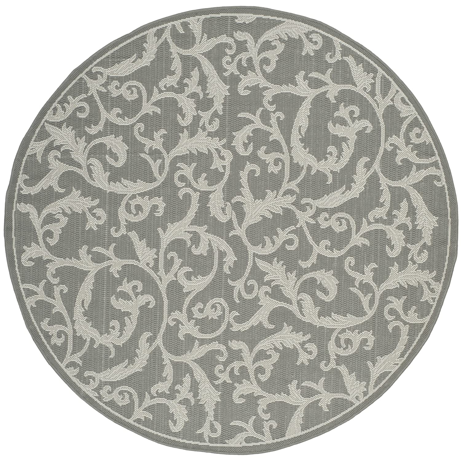 Safavieh Courtyard Collection CY6533-87 Anthracite and Light Grey Indoor  Outdoor Round Area Rug (5'3 Diameter)