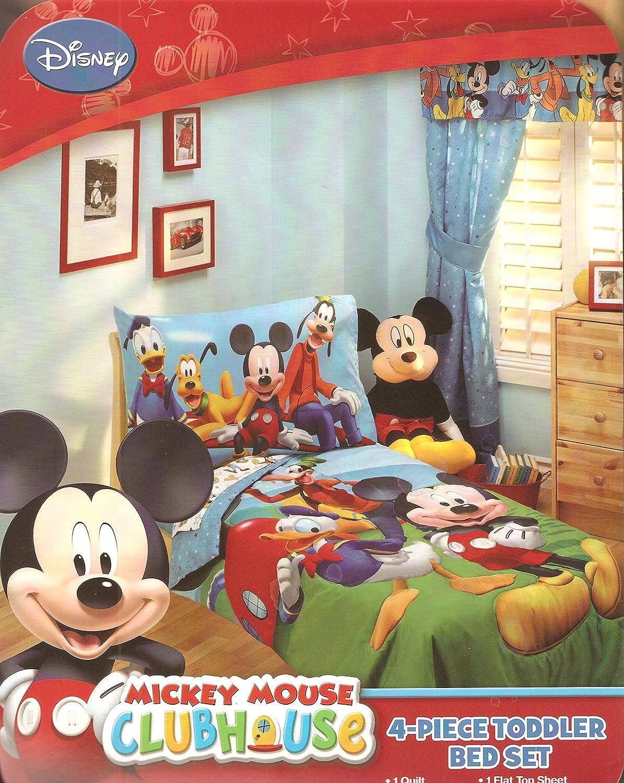 Amazon.com : Disney Mickey Mouse Playground Pals 4 Piece Toddler Bedding Set  : Baby