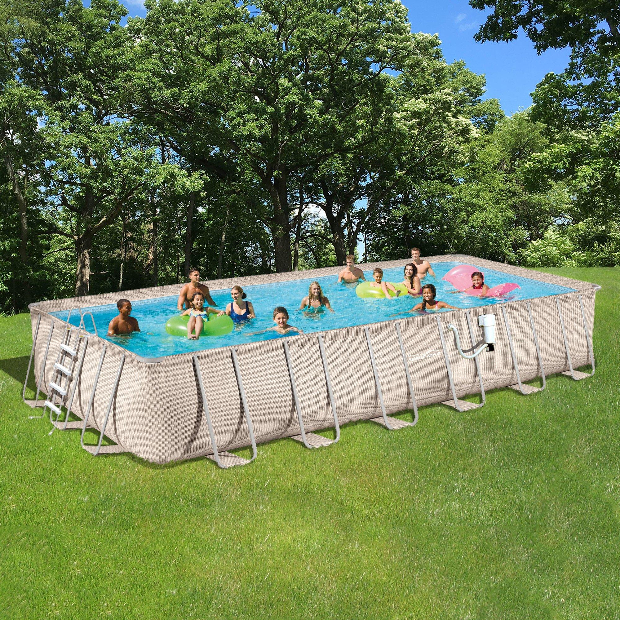 Pool Package Light Wicker 12'x24' Rect Metal Frame 52'' Deep Summer Waves NB2234