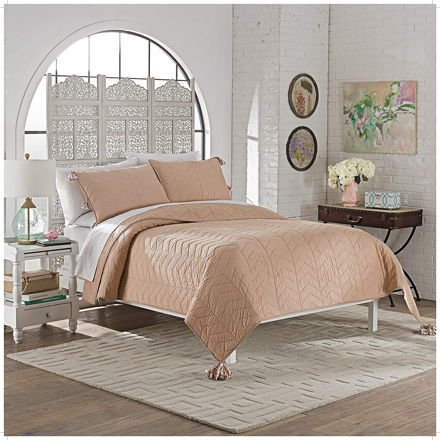 Marble Hill Nadia 3Piece Quilt Set,Dusty Rose,King