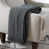 Amazon Brand – Stone & Beam Transitional Chunky Cable Knit Throw Blanket 100% Cotton, Charcoal