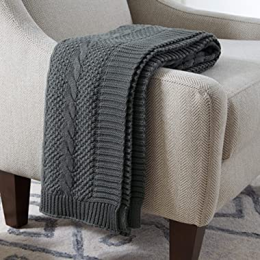 Stone & Beam 100% Cotton Transitional Chunky Cable Knit Throw, 70  x 40 , Charcoal