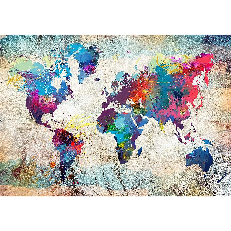 Papier peint intiss/é carte du monde 200x140 cm Trompe l oeil D/éco Mural Tableaux Muraux Photo Bois Graffiti Color/é decomonkey