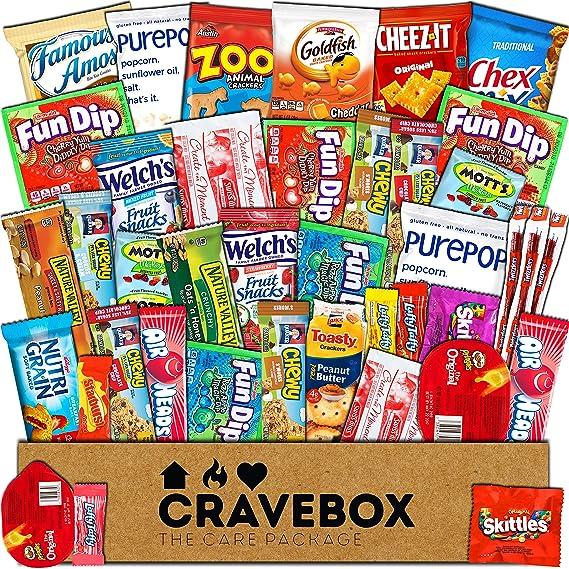 CraveBox Paquete de tentempiés de gran variedad de frituras y barras de granola y palomitas para