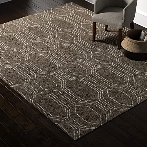 Amazon Brand Rivet Steel Slanted Lines Wool Modern Area Rug