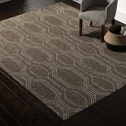 Rivet Steel Slanted Lines Wool Modern Area Rug, 8 x 10 Foot