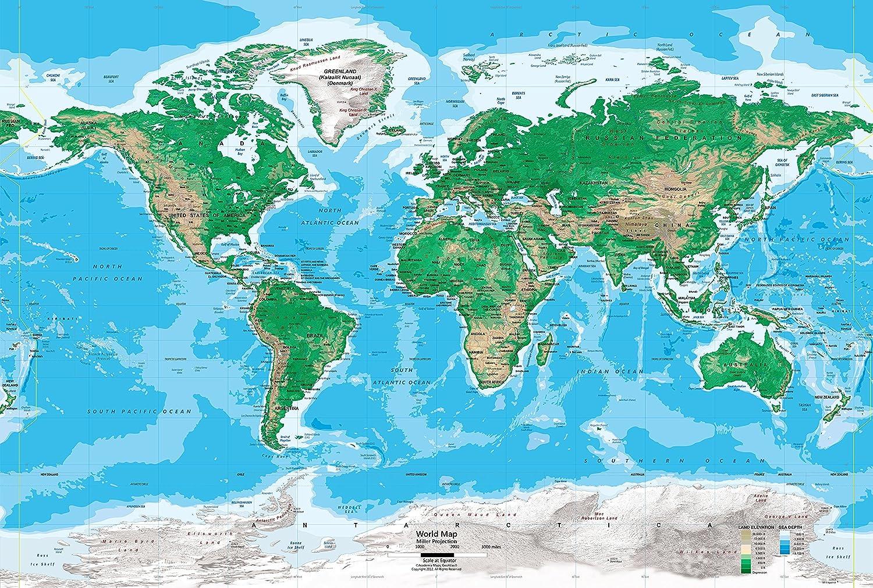 Amazon Com Academia Maps World Map Wall Mural Blue Ocean