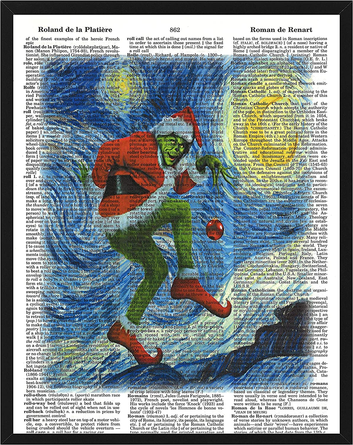 Christmas Wall Decor Featuring The Grinch in Van Gogh's Starry Night Christmas Dictionary Art Print 8 x 10 Inch