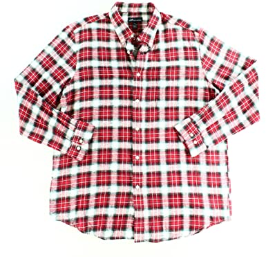 138f5c33a2f8 John Ashford Mens Plaid Button Up Shirt Red XL at Amazon Men's ...