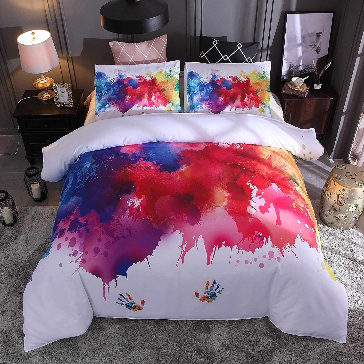 3D Abstract Printed 3-Piece Set, Vibrant Stains of Watercolor Paint Splatters Brushstrokes Dripping Liquid Art, with 2 Pillow Shams Set, Red Yellow Blue Purple Orange,Black,200 * 200Cm [Energy Class A] YC DOLL